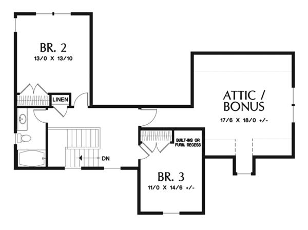 Craftsman Floor Plan - Upper Floor Plan Plan #48-923