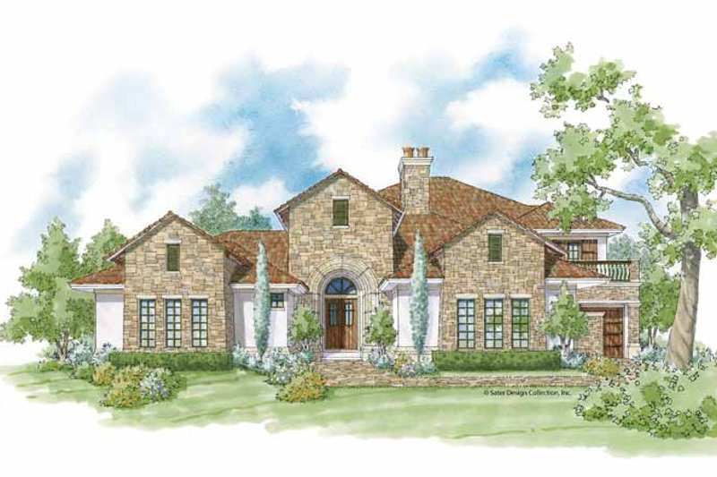 Mediterranean Exterior - Front Elevation Plan #930-423
