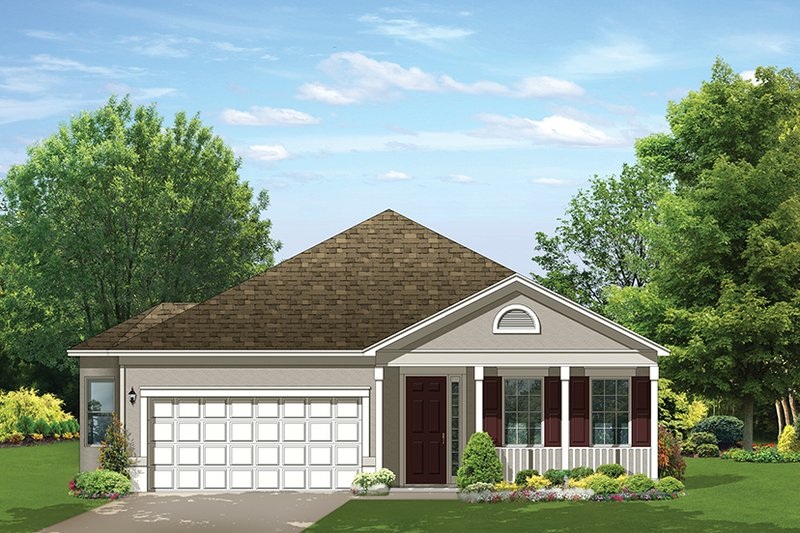 Ranch Exterior - Front Elevation Plan #1058-109