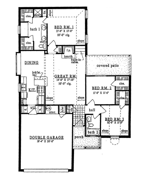 Ranch Floor Plan - Main Floor Plan Plan #42-583