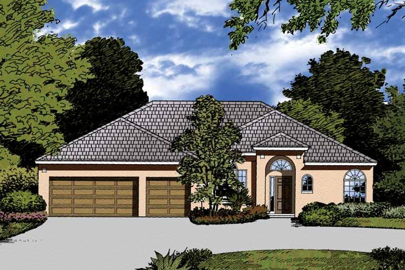 Mediterranean Exterior - Front Elevation Plan #1015-22