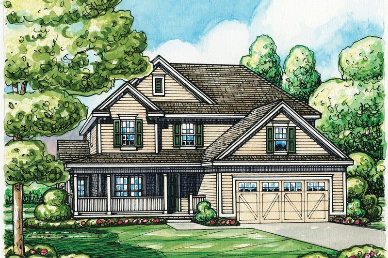 Home Plan - Traditional Exterior - Front Elevation Plan #20-2185