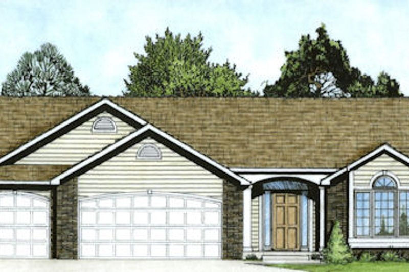 Ranch Exterior - Front Elevation Plan #58-164 - Houseplans.com