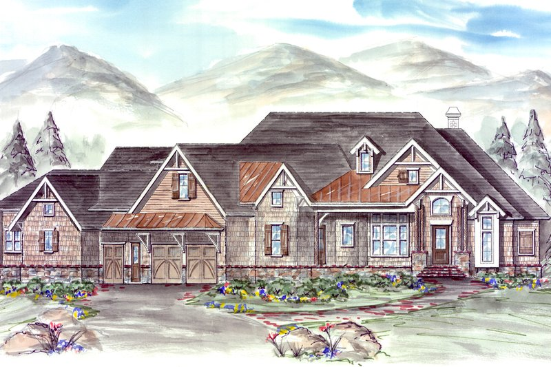 Architectural House Design - Craftsman Exterior - Front Elevation Plan #54-405