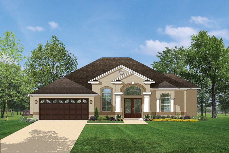 Mediterranean Exterior - Front Elevation Plan #1058-37