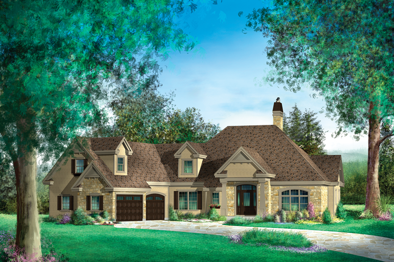 Traditional Style House Plan - 5 Beds 3 Baths 4897 Sq/Ft Plan #25-4736 Exterior - Front Elevation