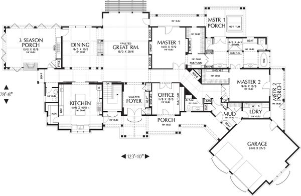 Main level floor plan - 5300 square foot Craftsman home