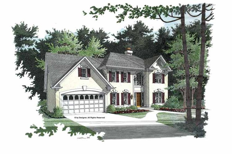 Colonial Exterior - Front Elevation Plan #56-672