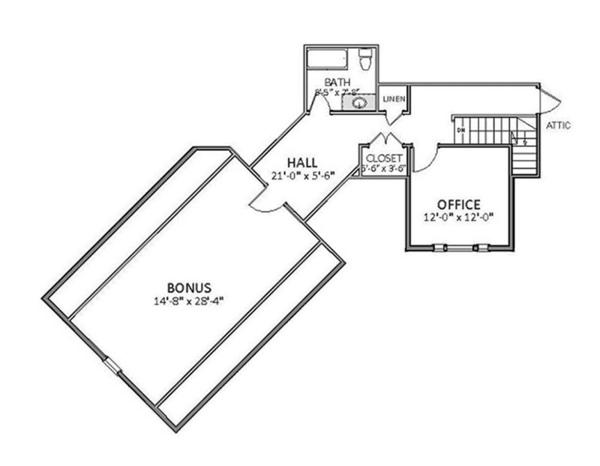 Craftsman Floor Plan - Upper Floor Plan Plan #898-36
