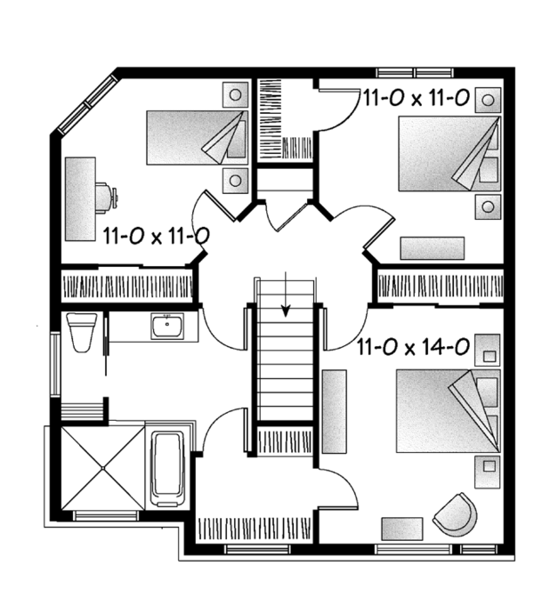 Contemporary Floor Plan - Upper Floor Plan Plan #23-2587