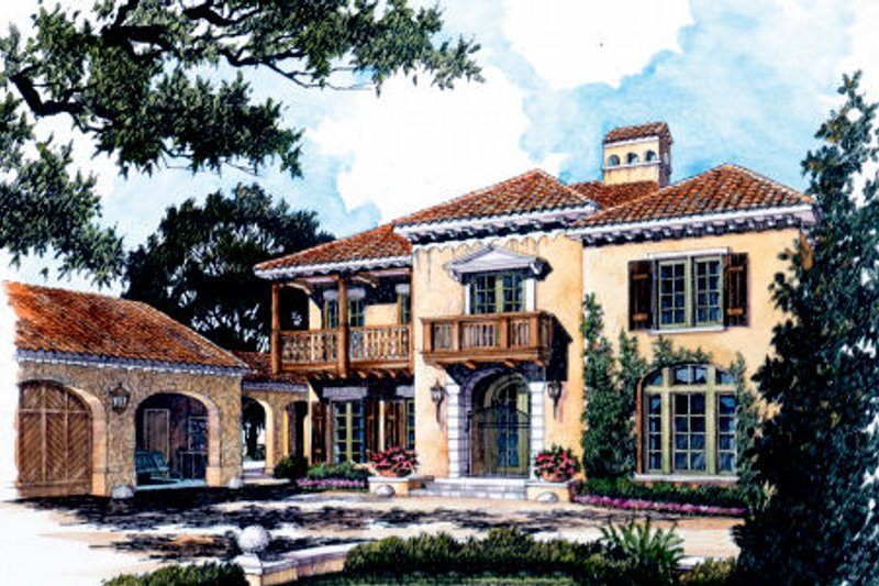 Mediterranean Style House Plan - 3 Beds 3.5 Baths 3576 Sq/Ft Plan #429-36 Exterior - Front Elevation