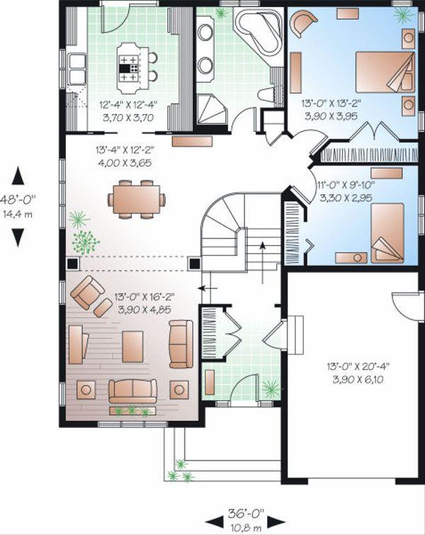 Traditional Floor Plan - Main Floor Plan Plan #23-786