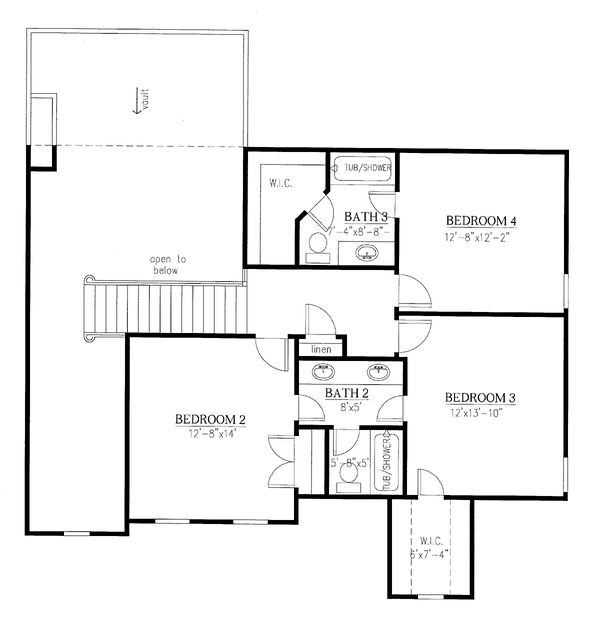 Traditional Floor Plan - Upper Floor Plan Plan #437-118