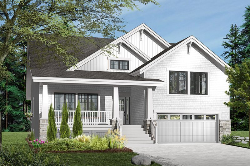 Craftsman Style House Plan - 3 Beds 2.5 Baths 2309 Sq/Ft Plan #23-813 Exterior - Front Elevation