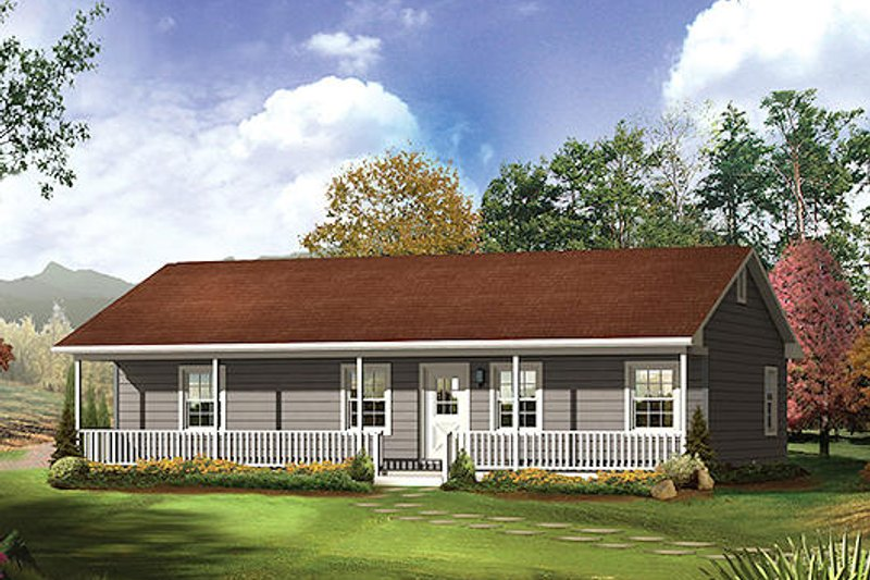 Farmhouse Style House Plan - 3 Beds 2 Baths 1285 Sq/Ft Plan #57-526
