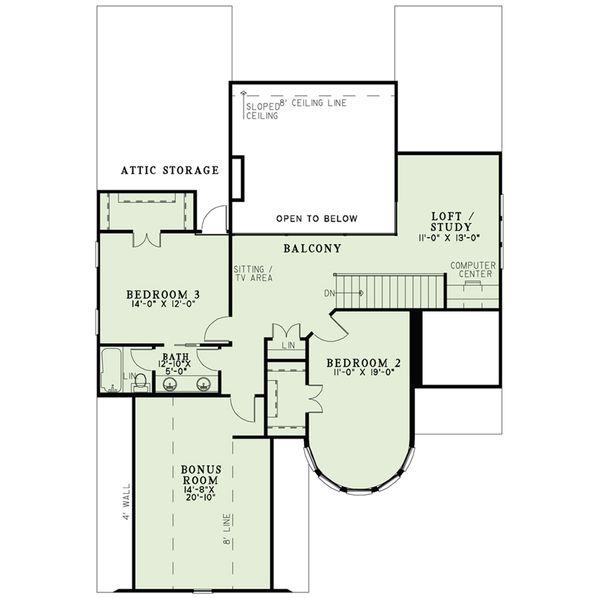 European Floor Plan - Upper Floor Plan Plan #17-2566