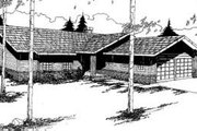 Ranch Style House Plan - 3 Beds 2.5 Baths 1599 Sq/Ft Plan #60-350 Exterior - Front Elevation