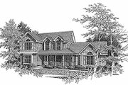 Farmhouse Style House Plan - 3 Beds 2.5 Baths 1986 Sq/Ft Plan #70-262 Exterior - Front Elevation