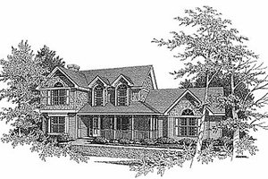 Farmhouse Exterior - Front Elevation Plan #70-262