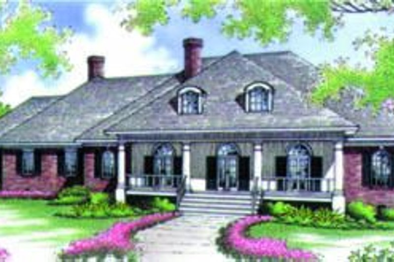 Southern Exterior - Front Elevation Plan #45-214
