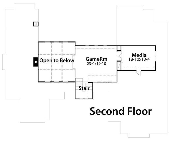 Country style house plan, Craftsman detail, upper level floor plan