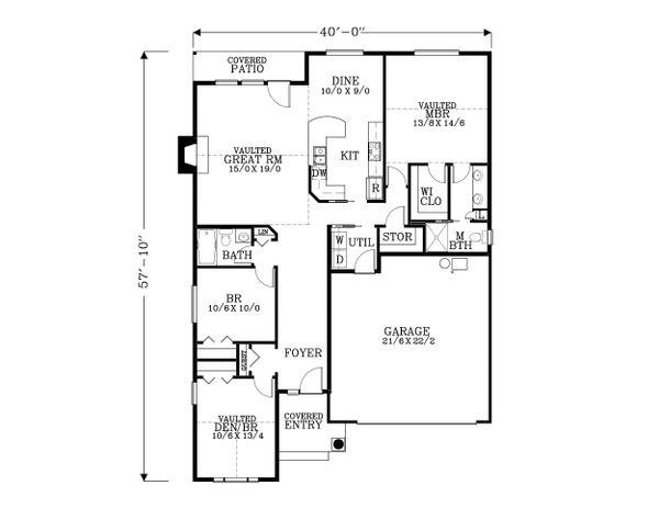 Architectural House Design - Craftsman Floor Plan - Main Floor Plan #53-465