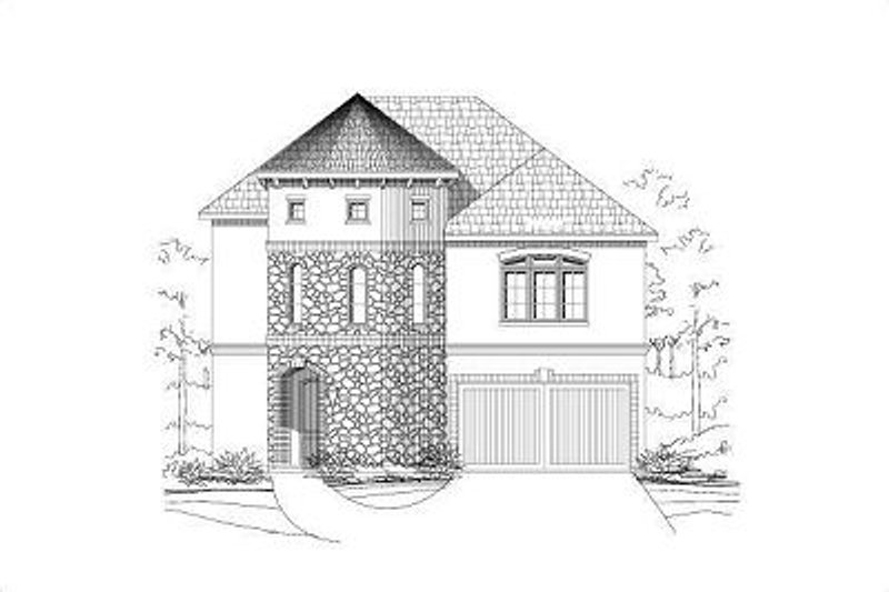 European Style House Plan - 4 Beds 3.5 Baths 3015 Sq/Ft Plan #411-487 Exterior - Front Elevation