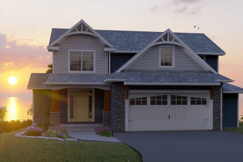 Architectural House Design - Craftsman Exterior - Front Elevation Plan #1064-23