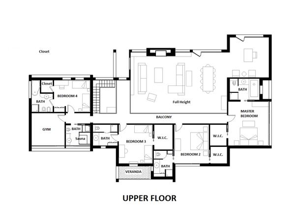 Modern Style House Plan - 4 Beds 6 Baths 5164 Sq/Ft Plan #542-1 Floor Plan - Upper Floor Plan