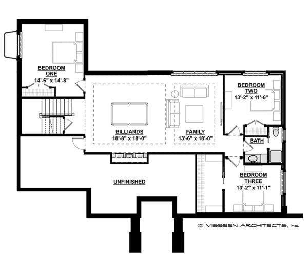 Prairie Floor Plan - Lower Floor Plan Plan #928-279
