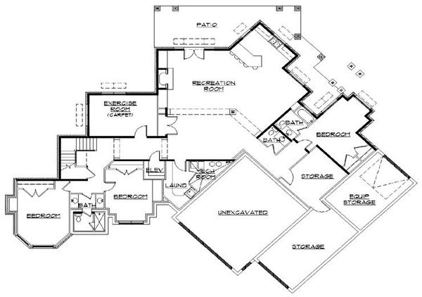 European Floor Plan - Lower Floor Plan Plan #5-333