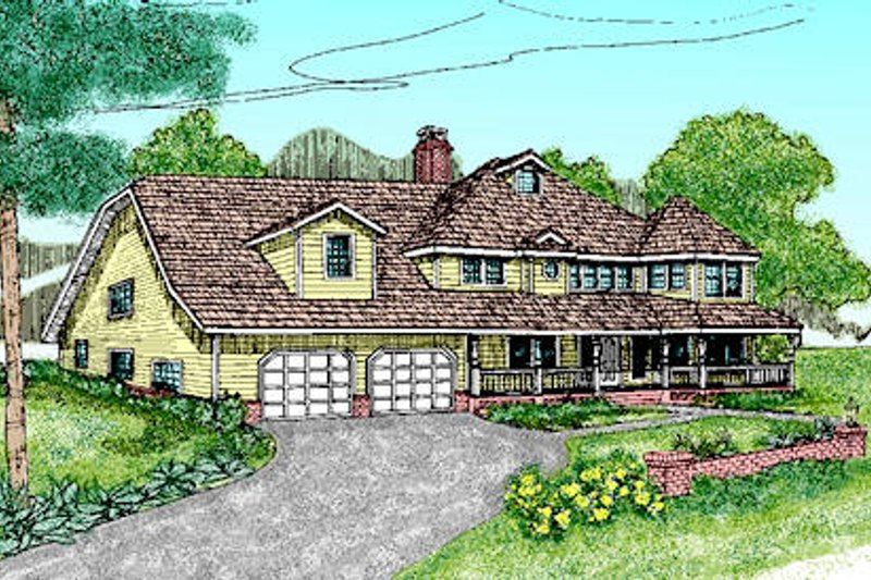 Country Style House Plan - 4 Beds 5 Baths 3501 Sq/Ft Plan #60-240 Exterior - Front Elevation
