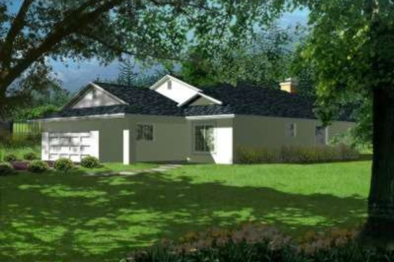 Adobe / Southwestern Style House Plan - 4 Beds 2 Baths 1719 Sq/Ft Plan #1-349 Exterior - Front Elevation