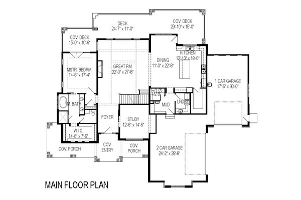 Craftsman Style House Plan - 5 Beds 3.5 Baths 3891 Sq/Ft Plan #920-29 Floor Plan - Main Floor Plan