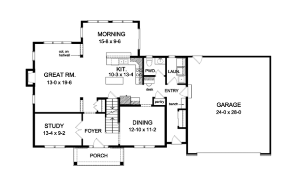 Colonial Floor Plan - Main Floor Plan Plan #1010-90