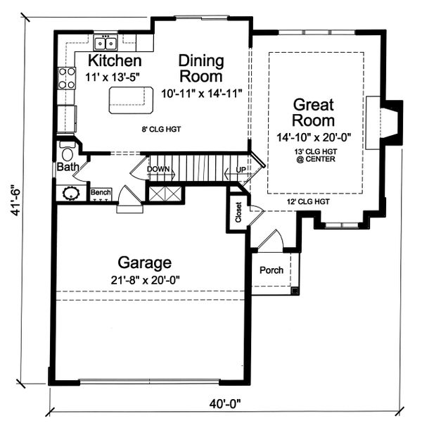 House Plan Design - Cottage Floor Plan - Main Floor Plan #46-885