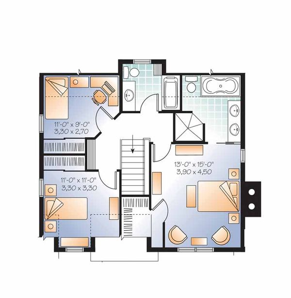Country Floor Plan - Upper Floor Plan Plan #23-2502
