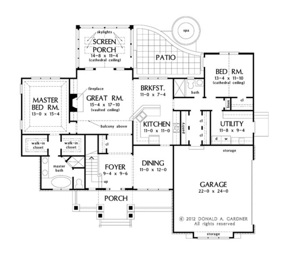 European Floor Plan - Main Floor Plan Plan #929-954