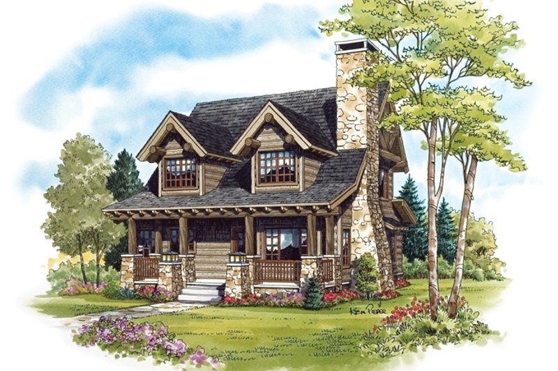 Cabin Exterior - Front Elevation Plan #942-25