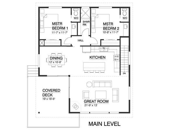 Contemporary Style House Plan - 4 Beds 2.5 Baths 1937 Sq/Ft Plan #519-1 Floor Plan - Main Floor Plan