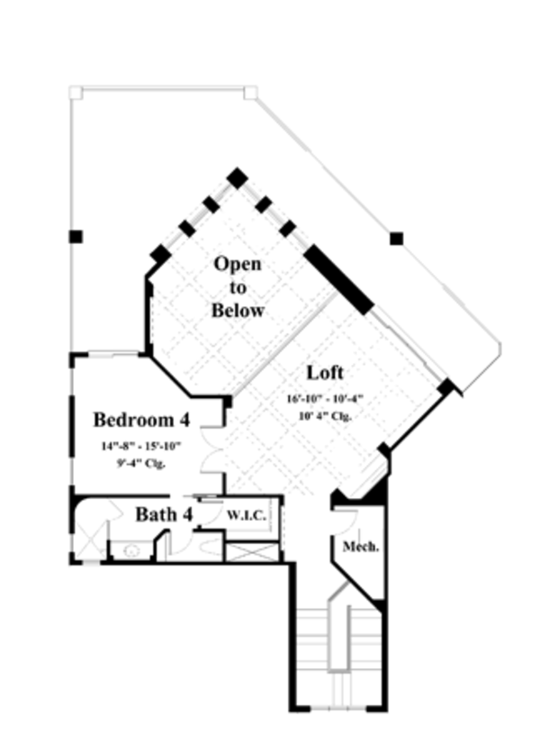 Mediterranean Floor Plan - Upper Floor Plan Plan #930-193