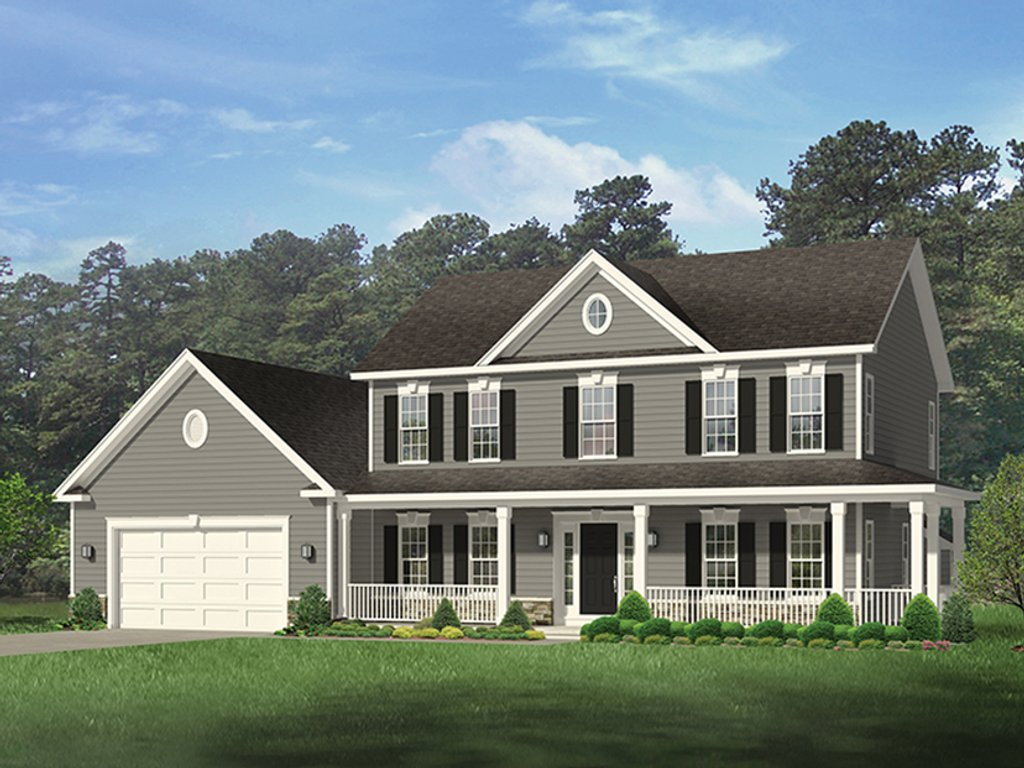 Colonial style house plan 4 beds 2 5 baths 2148 sq ft for Colonial house plans with porch
