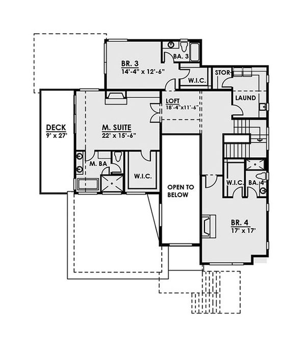 Contemporary Floor Plan - Upper Floor Plan Plan #1066-37