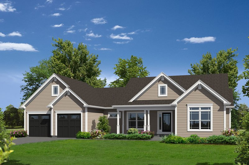 Country Style House Plan - 3 Beds 2.5 Baths 2037 Sq/Ft Plan #57-622 Exterior - Front Elevation