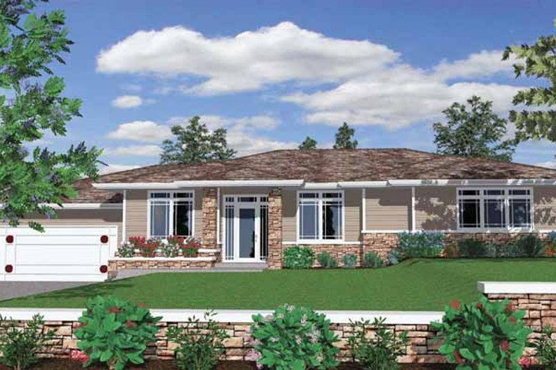 Prairie Exterior - Front Elevation Plan #509-406