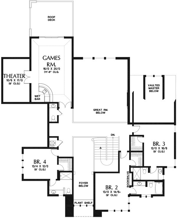 Craftsman Floor Plan - Upper Floor Plan Plan #48-973