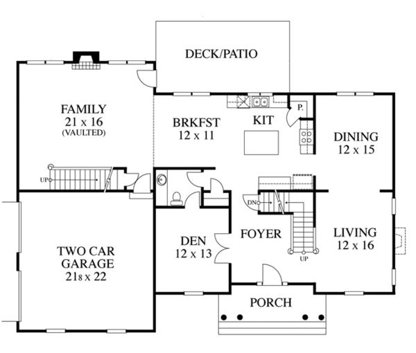 Colonial Floor Plan - Main Floor Plan Plan #1053-48