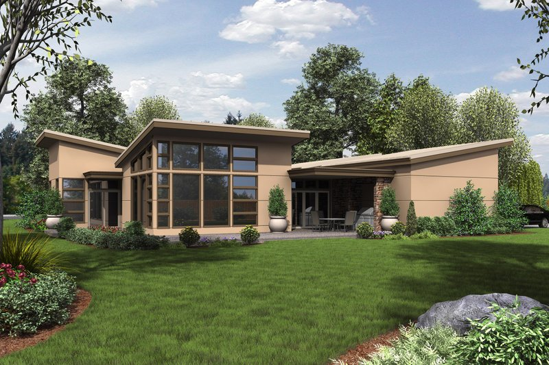 Modern Exterior - Rear Elevation Plan #48-479 - Houseplans.com