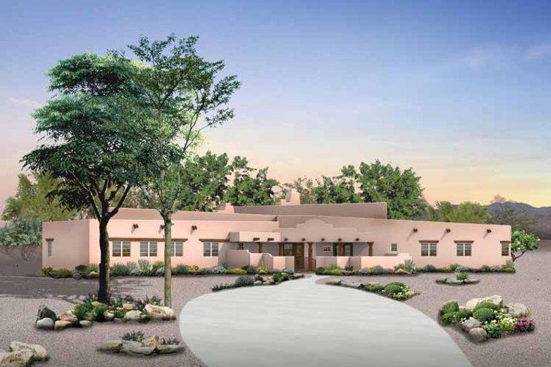 House Blueprint - Adobe / Southwestern Exterior - Front Elevation Plan #72-926