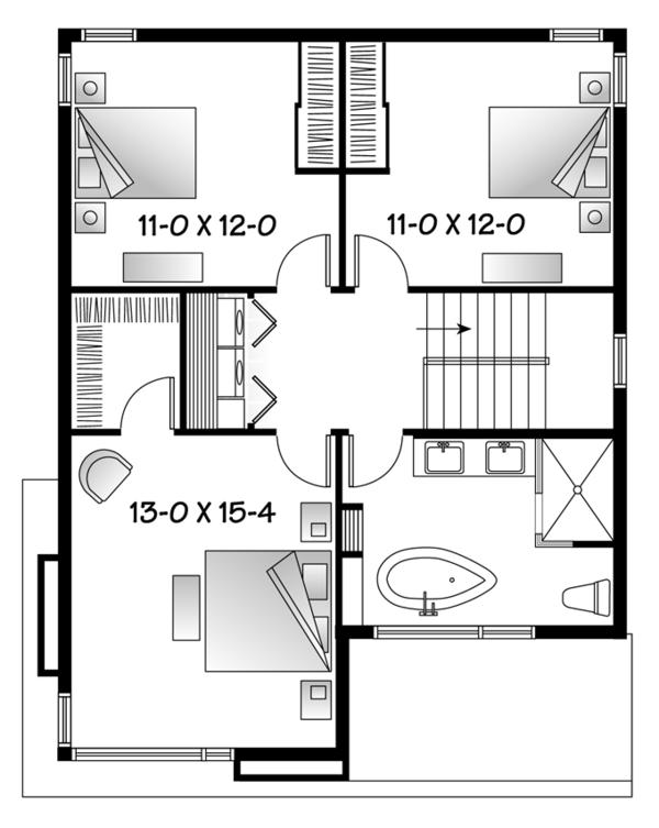 Contemporary Floor Plan - Upper Floor Plan Plan #23-2554
